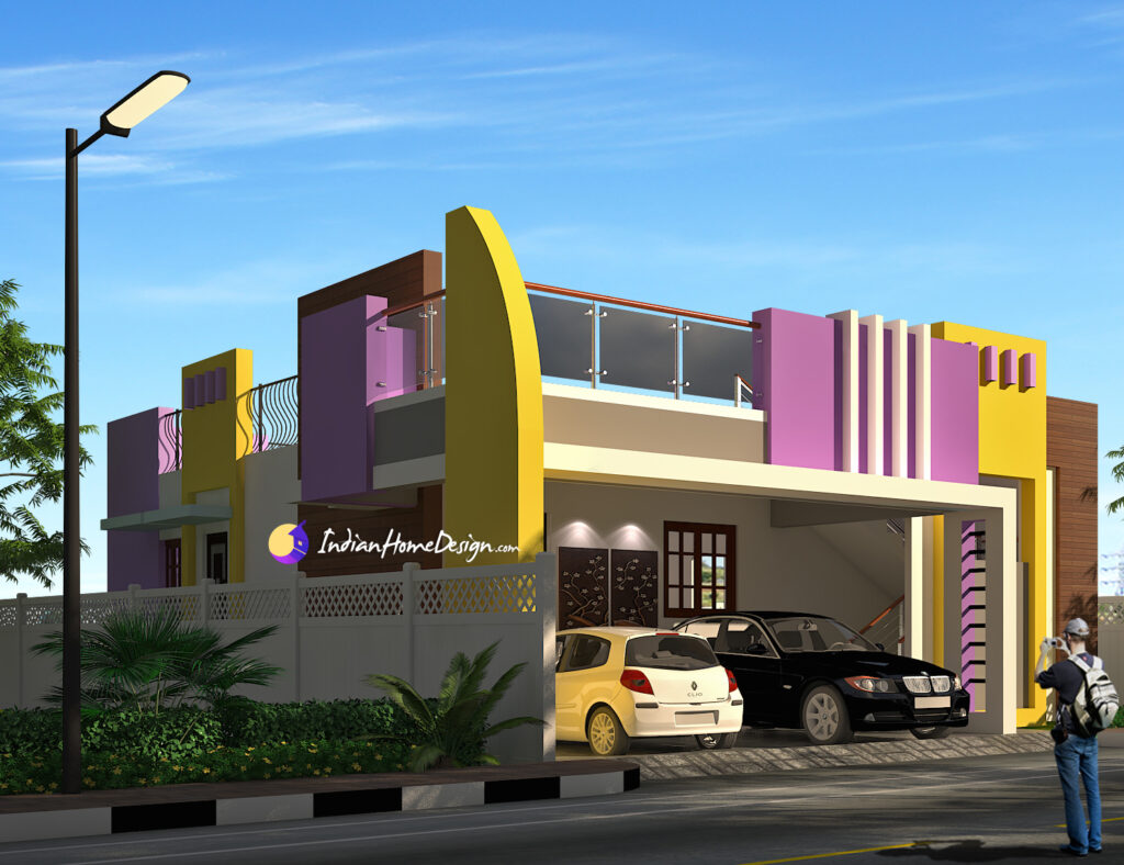 Contemporary flat roof 2 Bhk South Indian Home Design by NS Architect