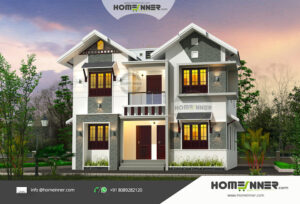 Attractive two Independent Homes in 2364 sqft with a Villa Exterior Design