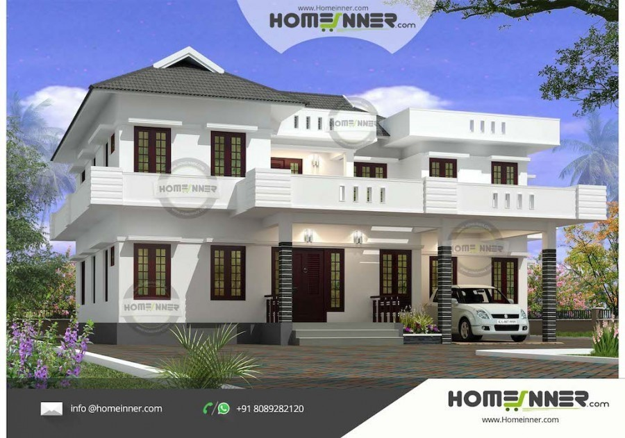 Two Story 4 Bedroom Indian House Plan