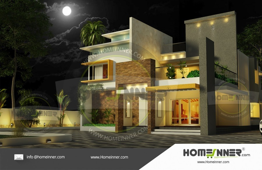 3014 sq ft Ultra Modern House Elevation