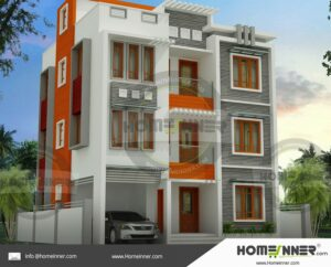 Jammu Division 27 Lakh contemporary 3 story house plans