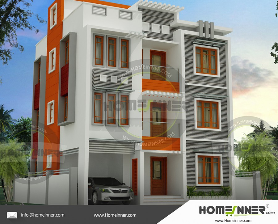 West Tripura 27 Lakh contemporary 3 story house plans