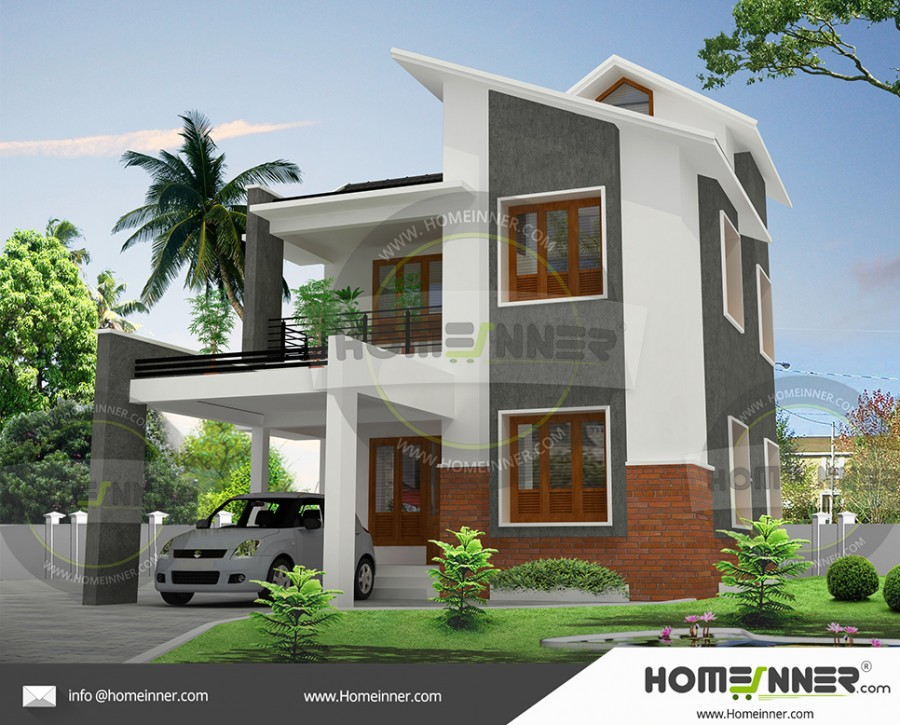 1200 sq ft 2 floor house plan with car parking in India