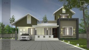 Kerala Home design 17 Lakh 1170 sq ft single story flat roof 3BHK