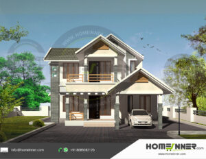 HIND-1101 home design 3 BHK 1288 sq ft villa house plans