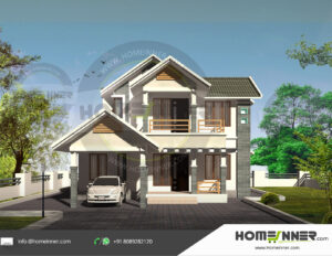 HIND-11101 home design 3 BHK 1288 sq ft villa house plans