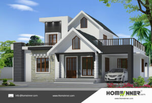 HIND-11103 home design 3 BHK 1493 sq ft villa house plans