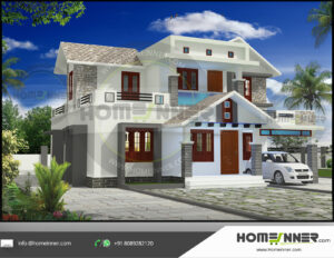 HIND-21102 home design 3 BHK 1695 sq ft villa house plans