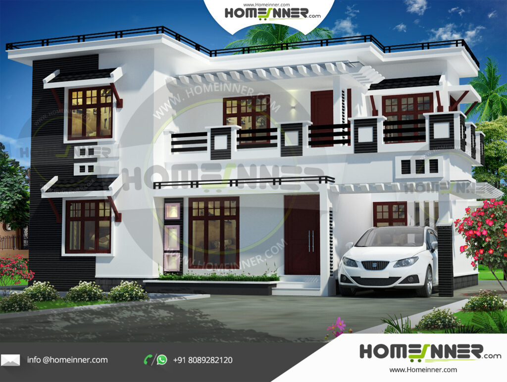 Angola Home design residential architecture 4 BHK 1877 sq ft villa house plans
