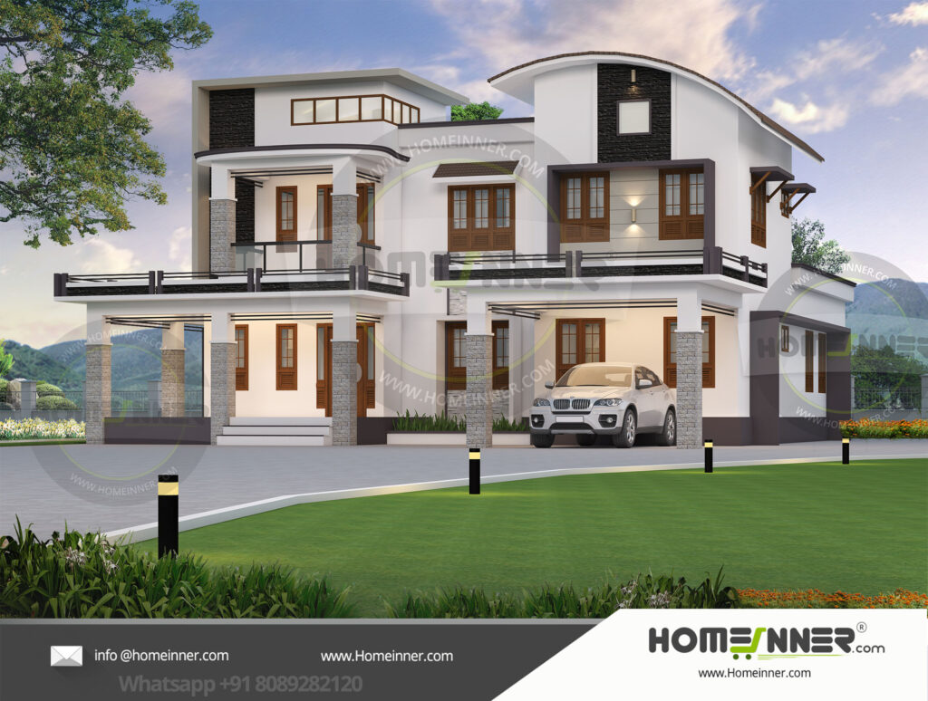 Best Home design residential architecture 4 BHK 3076 sq ft villa house plans