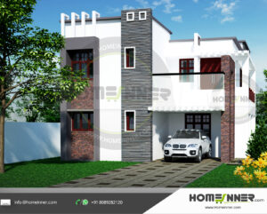 Hollywood Home design residential architecture 4 BHK 1965 sq ft villa house plans