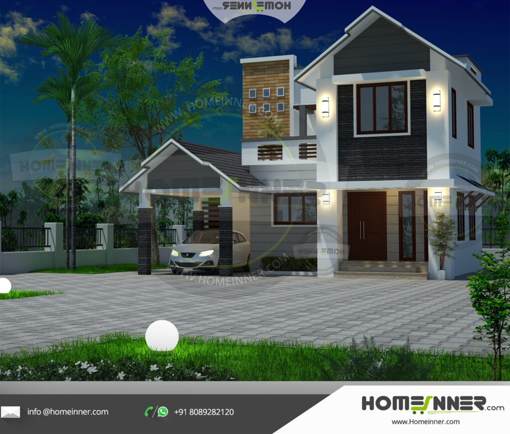 Rocky Mount Home design residential architecture 3 BHK 1307 sq ft villa house plans